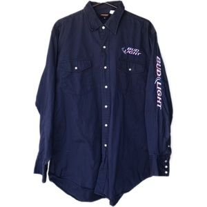 Bud Light embroidered pearl snap button down
